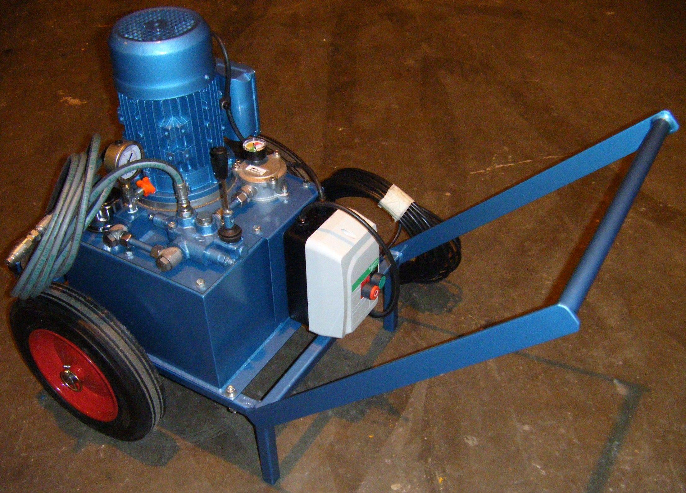 Uhl trolley or wheelbarrow mounted hydraulic power unit for Aquaclear motor unit for power filter