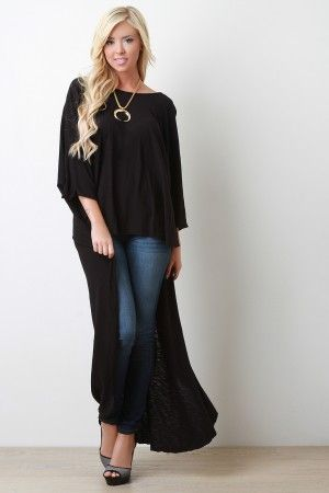 Wing Sleeve High Low Top