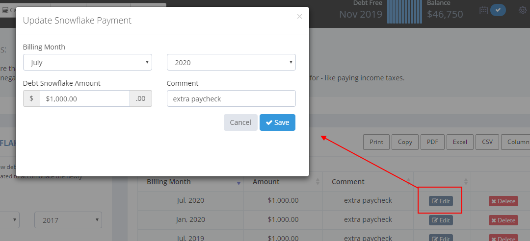Now you can edit debt snowflake additional payments; so
