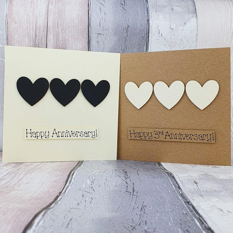 3rd anniversary card leather wedding anniversary card