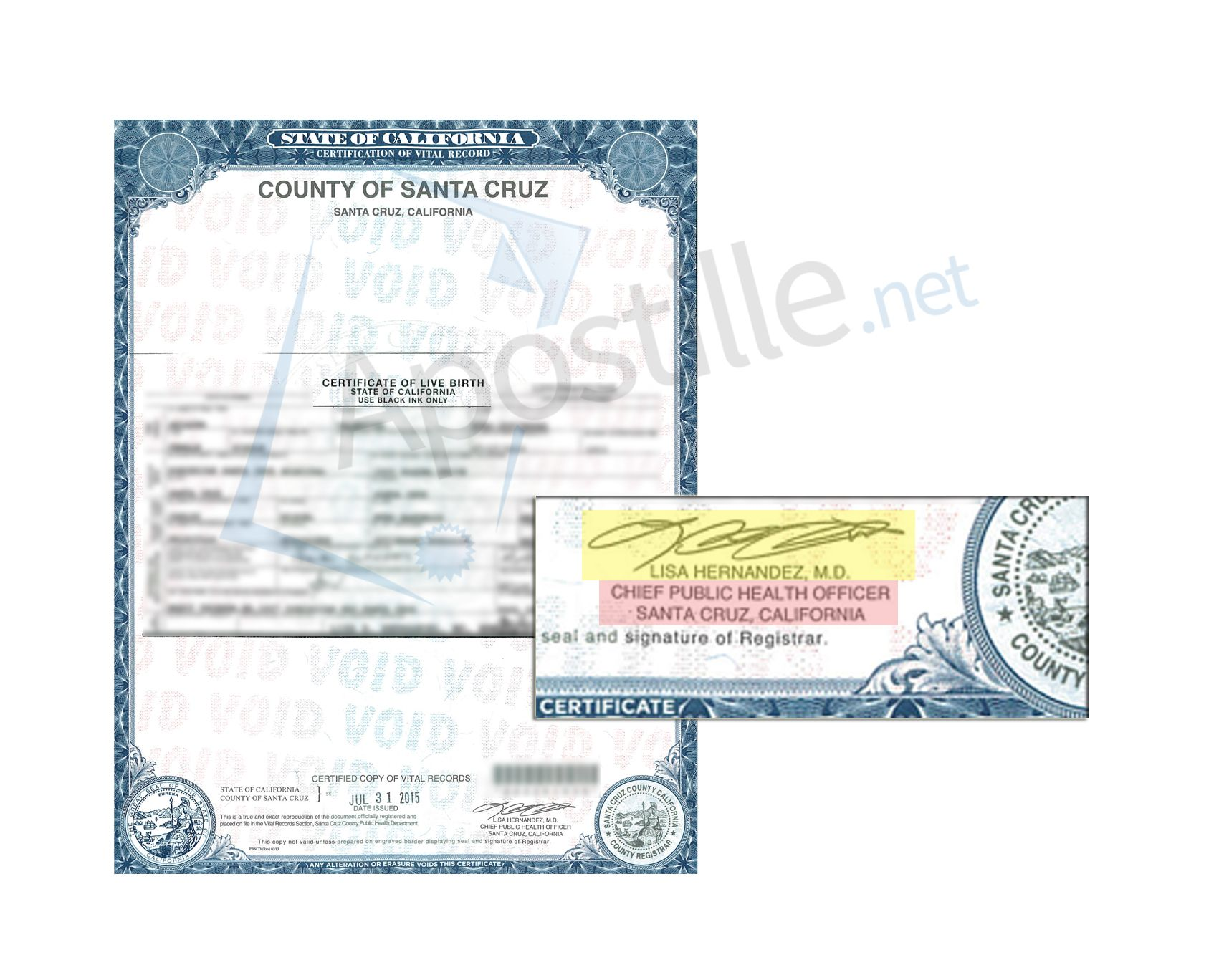 County of Santa Cruz Certificate of Birth signed by Lisa