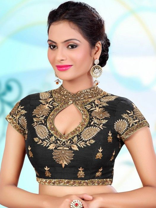 593f22909a1 Shop Black designer raw silk readymade blouse online from G3fashion India.  Brand - G3