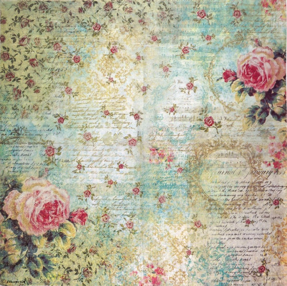 Rice paper A//3 Vintage Roses 2 for Decoupage Decopatch Scrapbook Craft