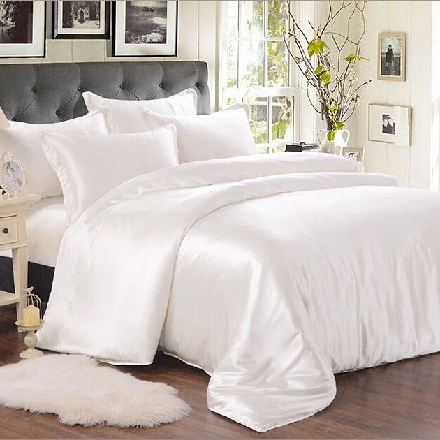 Black Luxury Bedding Sets Solid Silk Satin 4 Pcs Queen King Size Home Textile Bedclothes Bed Linen Duvet Cover Silk Bed Sheets Luxury Bedding King Bedding Sets