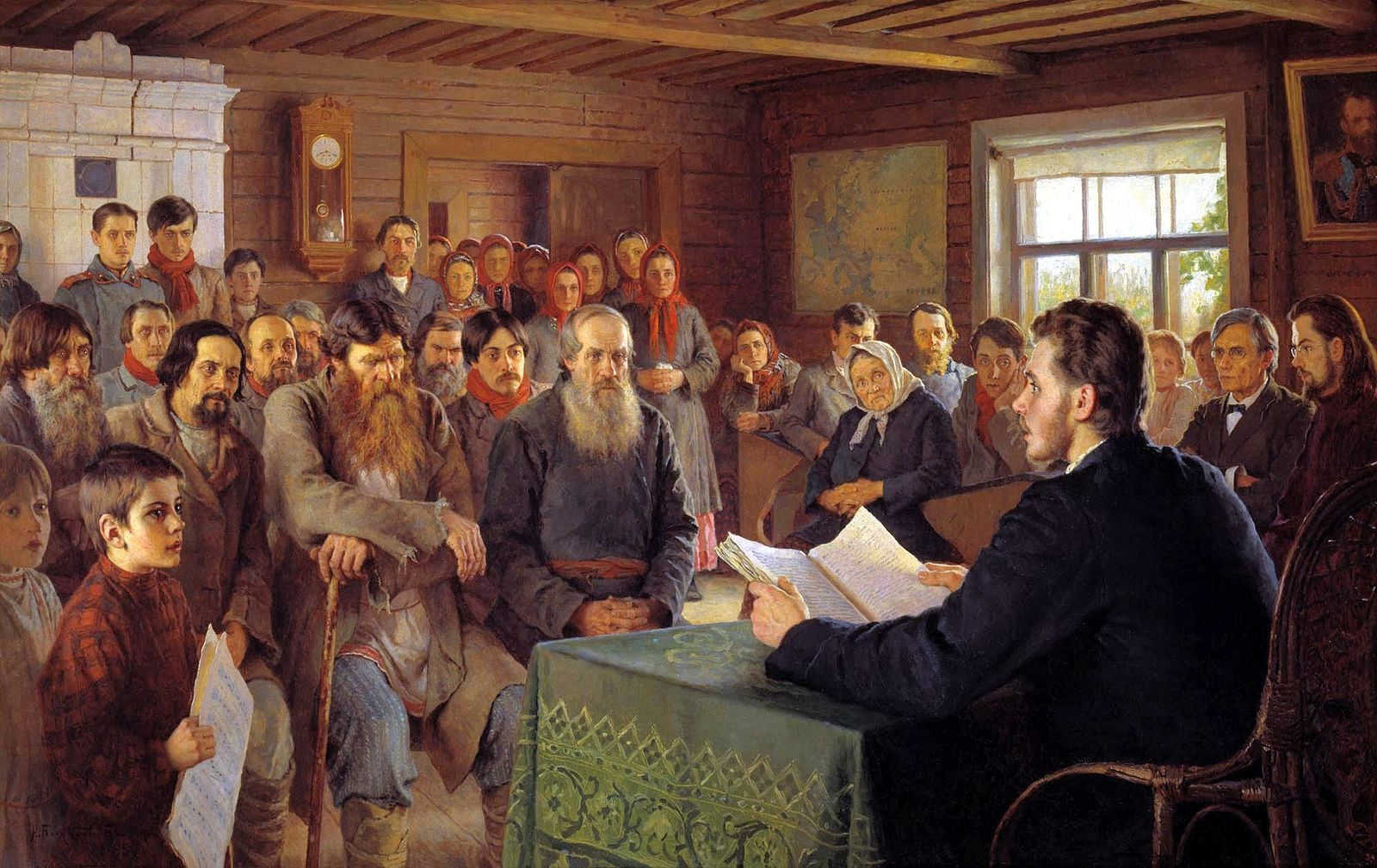 English: Sunday Reading in Rural Schools. Oil on canvas. The State Russian Museum, St. Petersburg Date 1895 Nikolay Petrovich Bogdanov-Belsky was a Russian painter. He was born in the village of Shitiki in Smolensk Governorate in 1868. He studied art at the Semyon Rachinsky fine art school, icon-painting at the Troitse-Sergiyeva Lavra in 1883, modern painting at the Moscow School of Painting, Sculpture and Architecture in 1884 to 1889, and at the Imperial Academy of Arts in St. Petersburg…