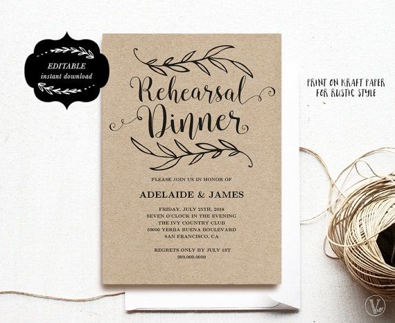 This is an INSTANT DOWNLOAD printable rehearsal dinner invitation card template that is