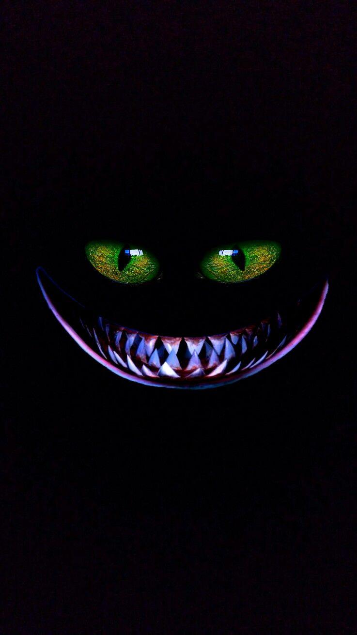 Iphone Vertical Wallpaper Green Eyes Toothy Grin Dark