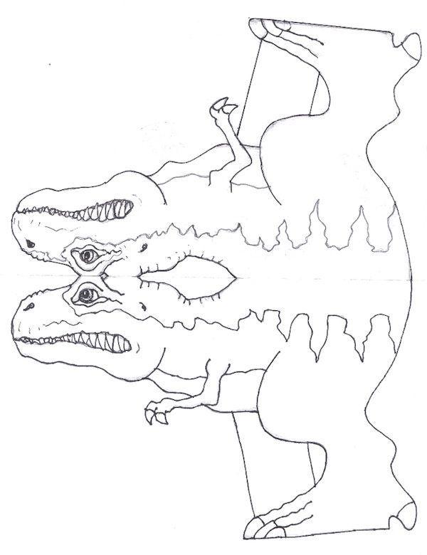Manualidades para niños: Molde Tiranosaurio Rex (Cuerpo) | PAPER ...