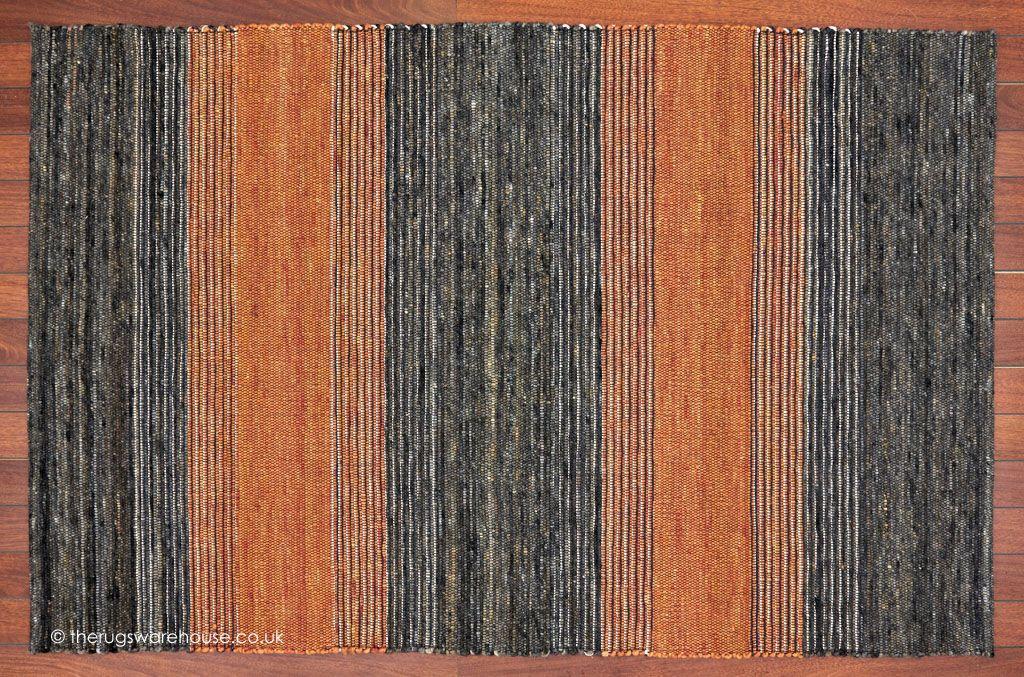Tiko Stripes Orange Rug A Hand Woven Pebble Textured Flat Wool