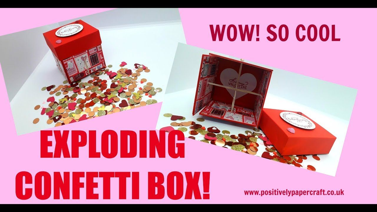 Amazing Exploding Confetti Box Tutorial Youtube Paper Crafts Exploding Box Card Box Cards Tutorial