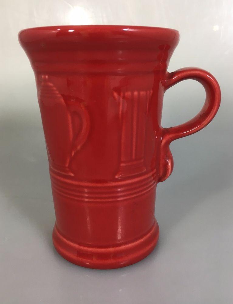 Fiesta Scarlet Retired Tall Cappuccino Mug Fiestaware Embossed Icons 21 oz #HomerLaughlin #Fiesta