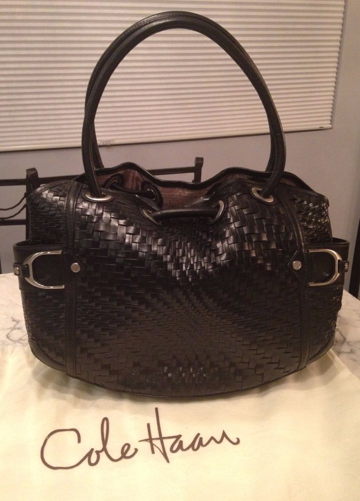 c782aaeaf038 Cole Haan Genevieve Woven Leather Saddle Weave Hobo Tote Satchel Hand Bag  Purse  ColeHaan  TotesShoppers GORGEOUS BLACK WOVEN LEATHER BAG!!!