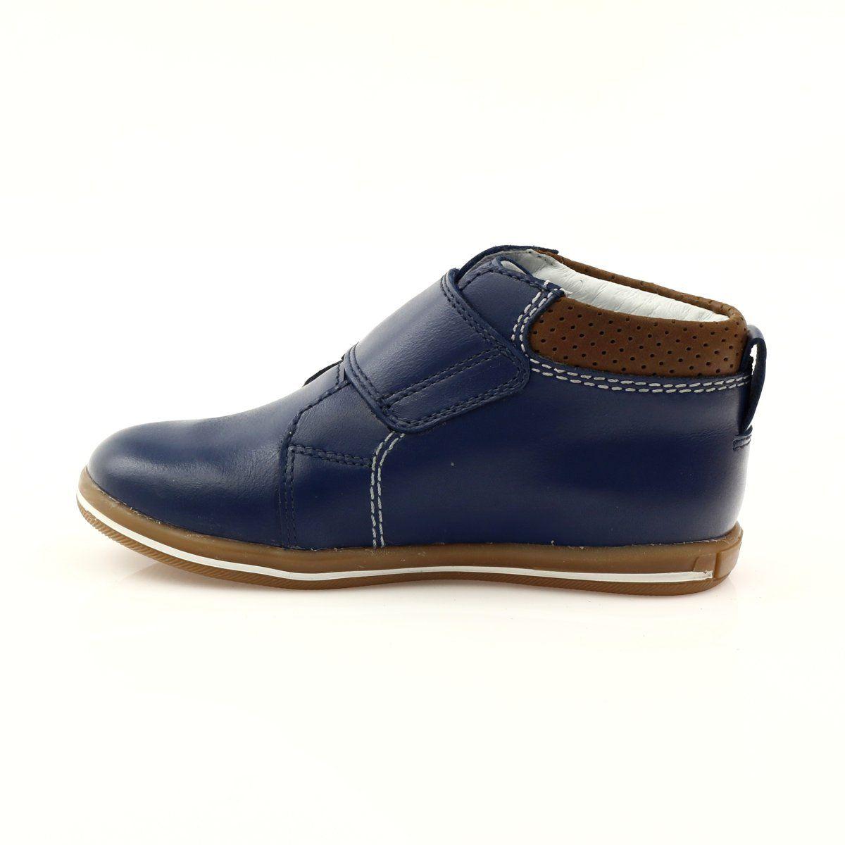 Velcro Closure Boots Bartek 31829 Navy Blue Brown Boots Childrens Shoes Low Boots