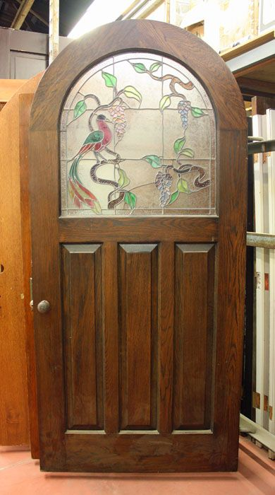 Arched Exterior Door Wstained Glass JP - Pasadena architectural salvage