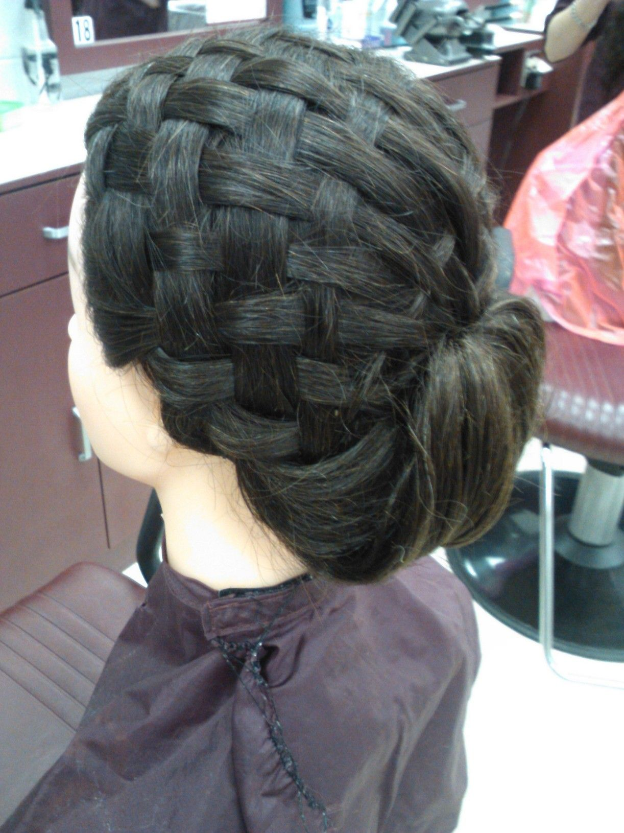 Basket Weave Updo Done In Cosmetology Class Hair Design