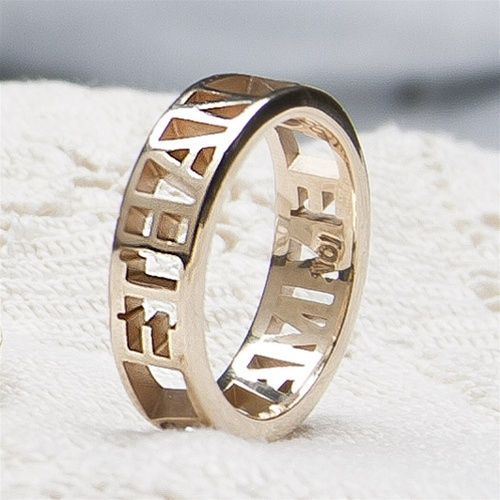 NameMessage Ring One Tone with Pierced Band  NameMessage Ring One Tone with Pierced Band