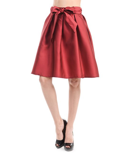 Wine Bow-Accent A-Line Skirt