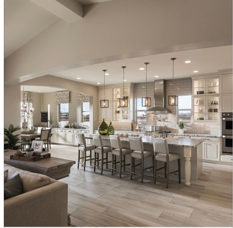 Large Open Concept Kitchen Design Ideas: Like The Pendant Lights. Cabinets Up Top Not Down The