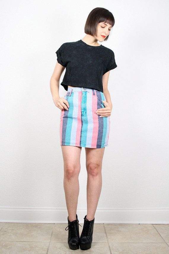 Vintage 80s Mini Skirt 1980s New Wave Striped Denim Skirt ...