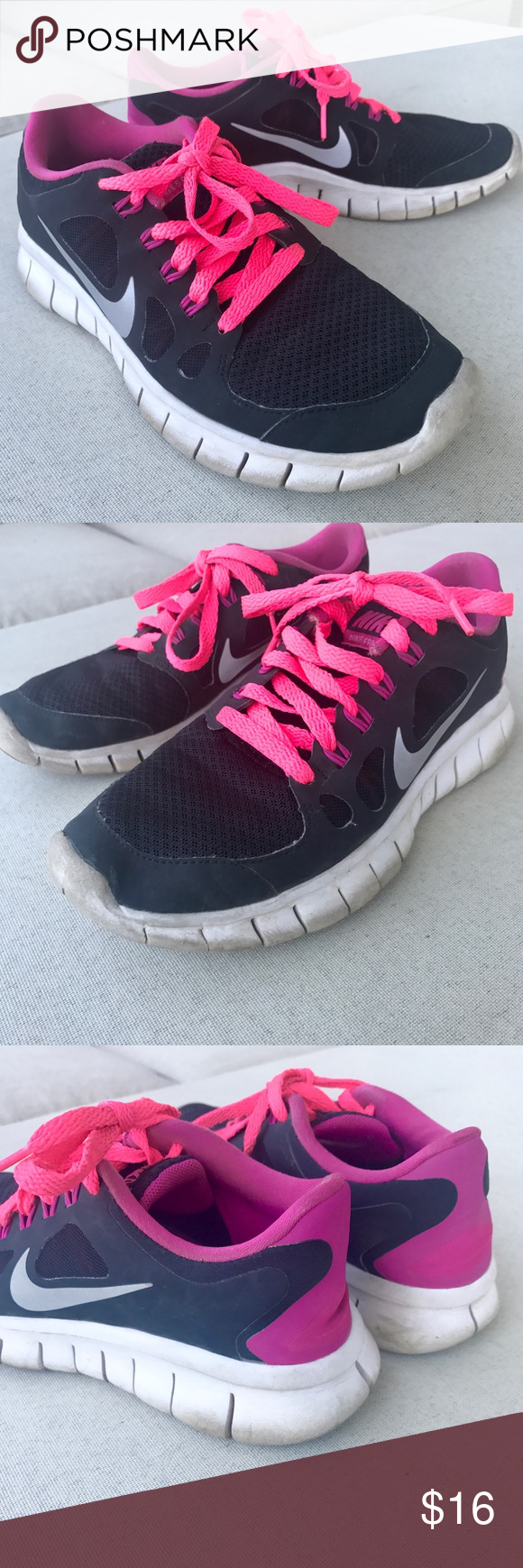 best service 02466 1e8eb Girls NIKE FREE 5.0 SHOES BLACK PINK SNEAKERS RUN Girls NIKE FREE 5.0 run  sneakers. Breathable fabric, light weight soles, neon pink laces.