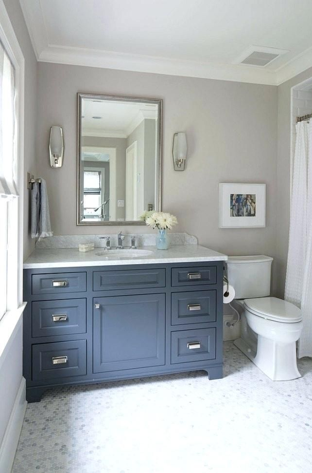 benjamin moore wolf gray bathroom navy blue cabinet paint ...