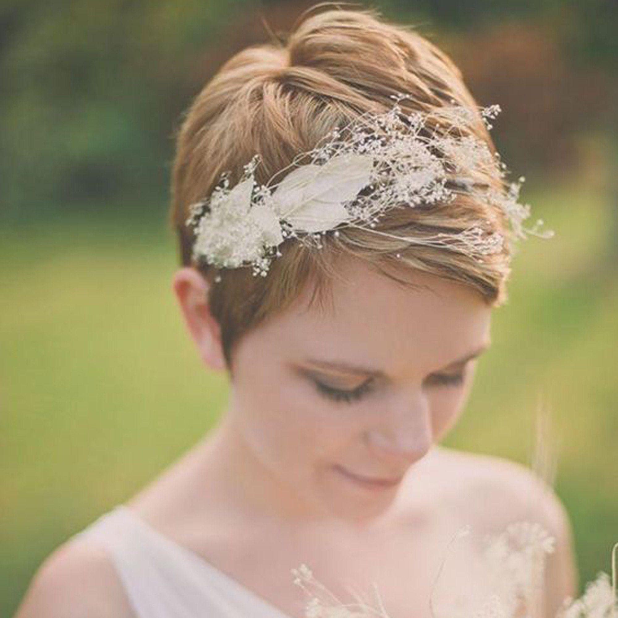 14 idées de coiffures de mariée pour cheveux courts repérées sur Pinterest   Coiffure mariage ...