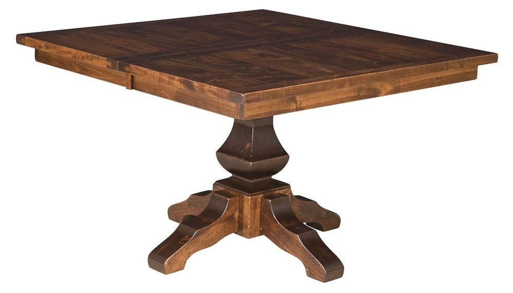 Amish Rustic Square Dining Table Pedestal Leaf Solid Wood Furniture 54 X