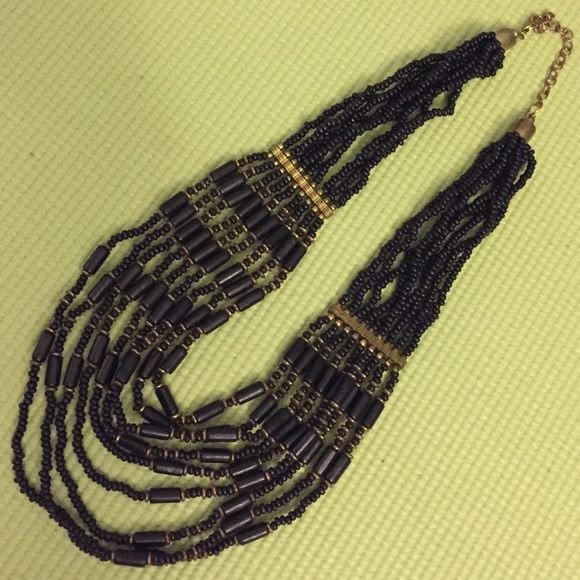 Beaded boutique necklace Gold detail with black beads, can be worn long or short Jewelry Necklaces