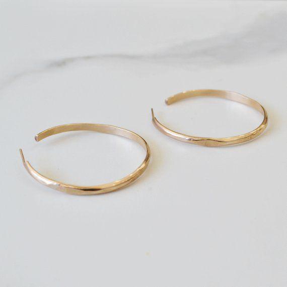 d367ff0773bd0 Wide Wave Hoop Earrings, Large Gold Hoop Earrings, Thick Simple Hoop ...
