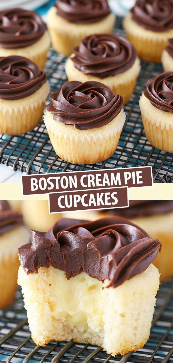 Boston Cream Pie Cupcakes - - #Abnehmen #boston #Brezel #cream #Cupcakes