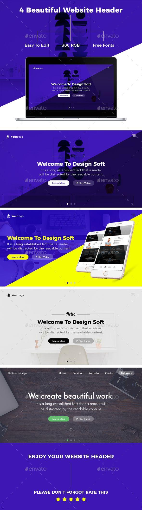 creative corporate website header template psd design sliders