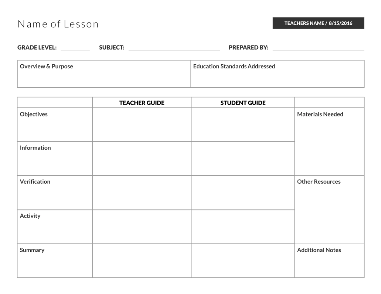 Table Lesson Plan Template
