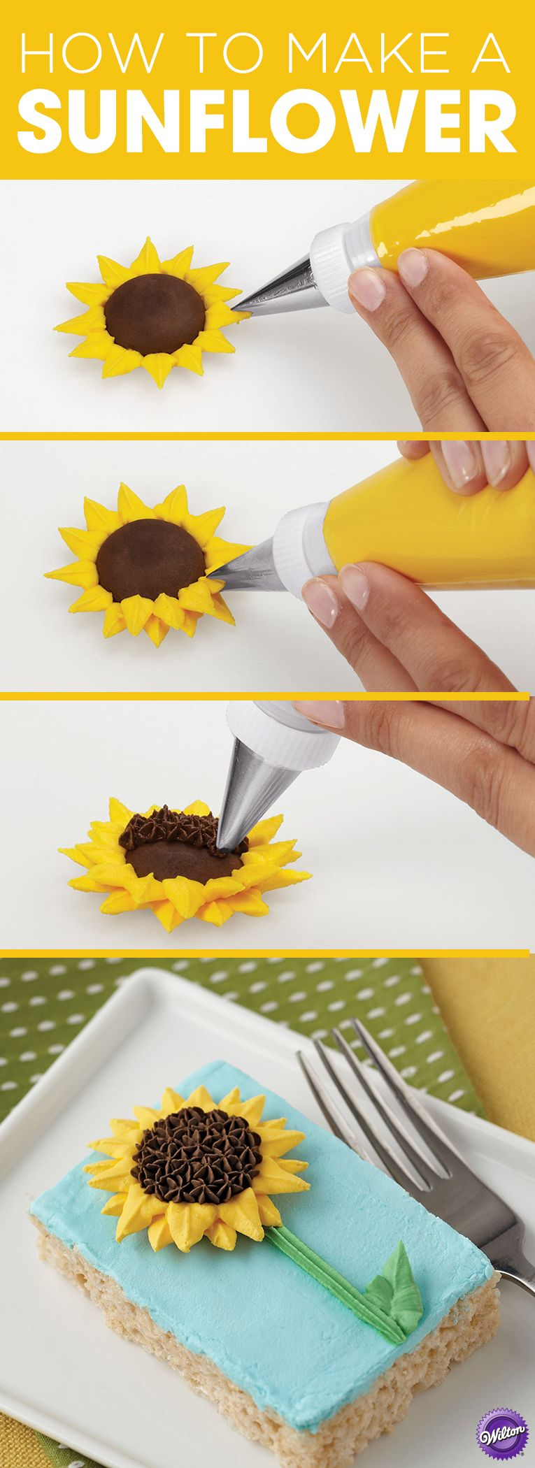 How to Pipe a Sunflower -   21 cake decor step by step ideas