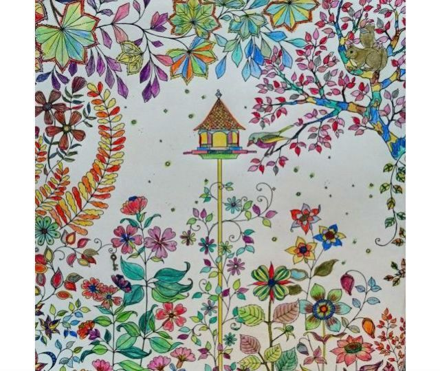 the colouring job with the most likes on joannas website from the book secret garden - My Secret Garden Coloring Book