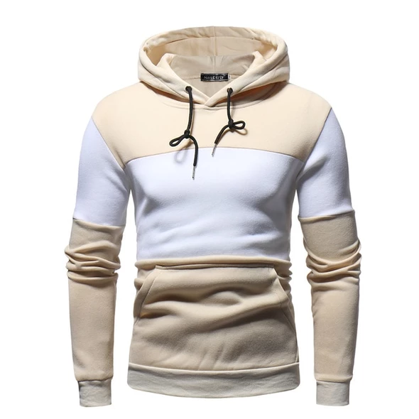 Men Hoodie Zip Up Long Sleeve Slim Fit Patchwork Top Autumn Outwear Blouse Hooded Sweatshirt Tracksuit