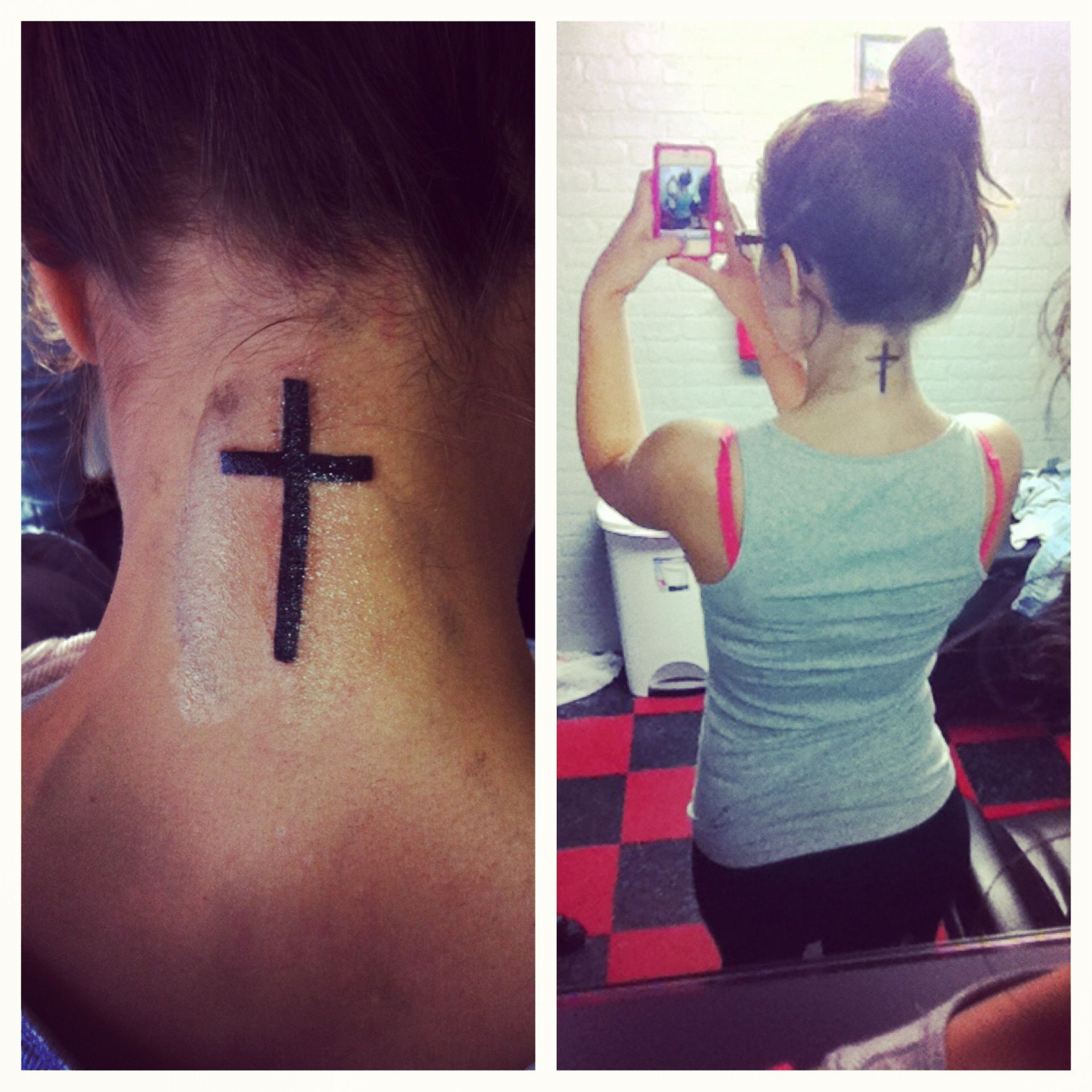 New tattoo time to hash tag away lol girlswithtattoos cross