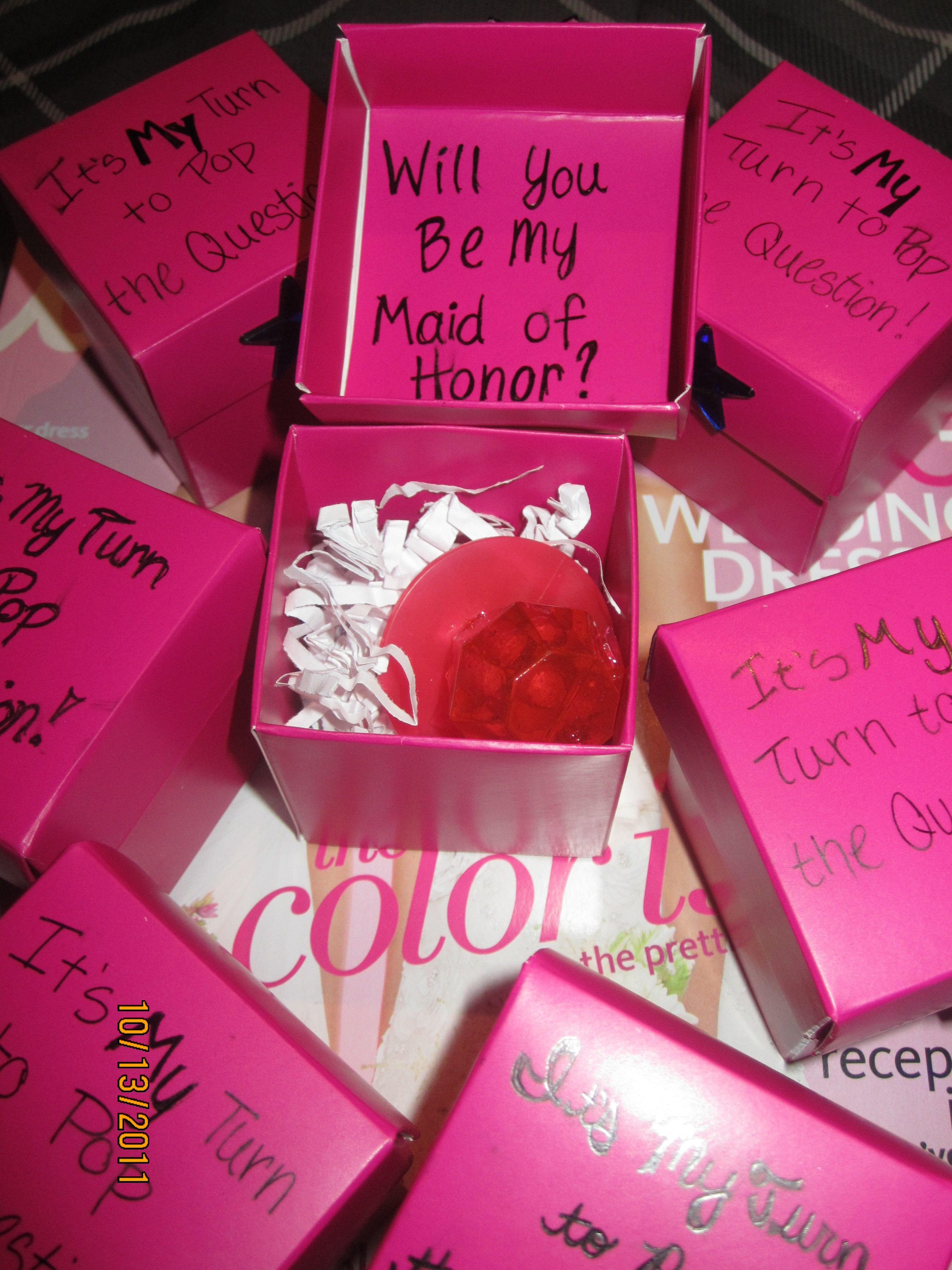 This is how I asked my bridal party: Outside of box \