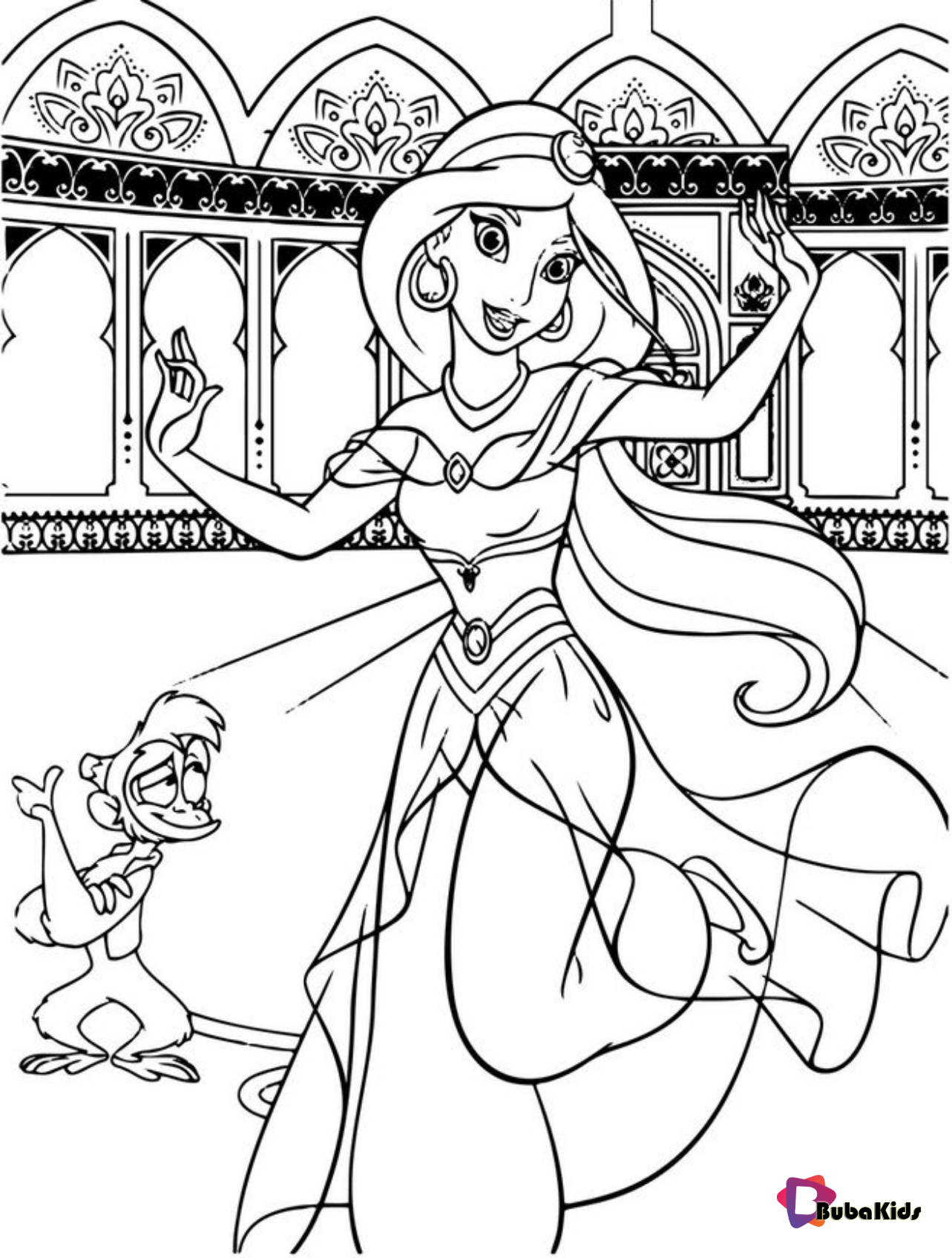 Abu Aladdin Coloring Dancing Jasmine Page Princess Printable Abu Aladdin Disney Princess Coloring Pages Disney Coloring Pages Princess Coloring Pages