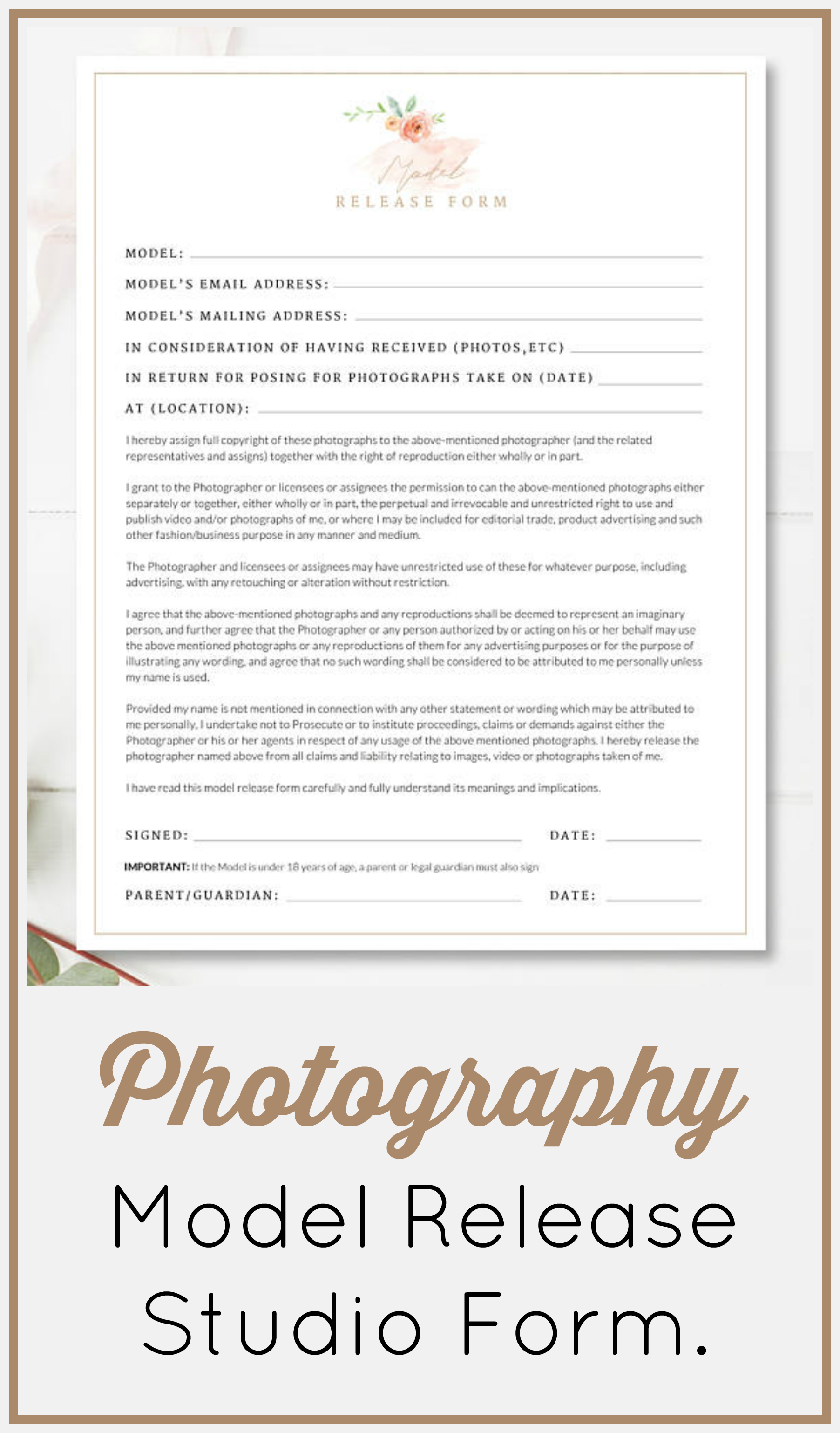 Stylish Photography Model Release Form To Use Printable