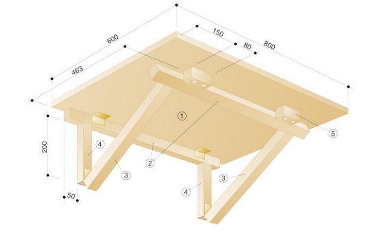 Схема складного столика на балкон