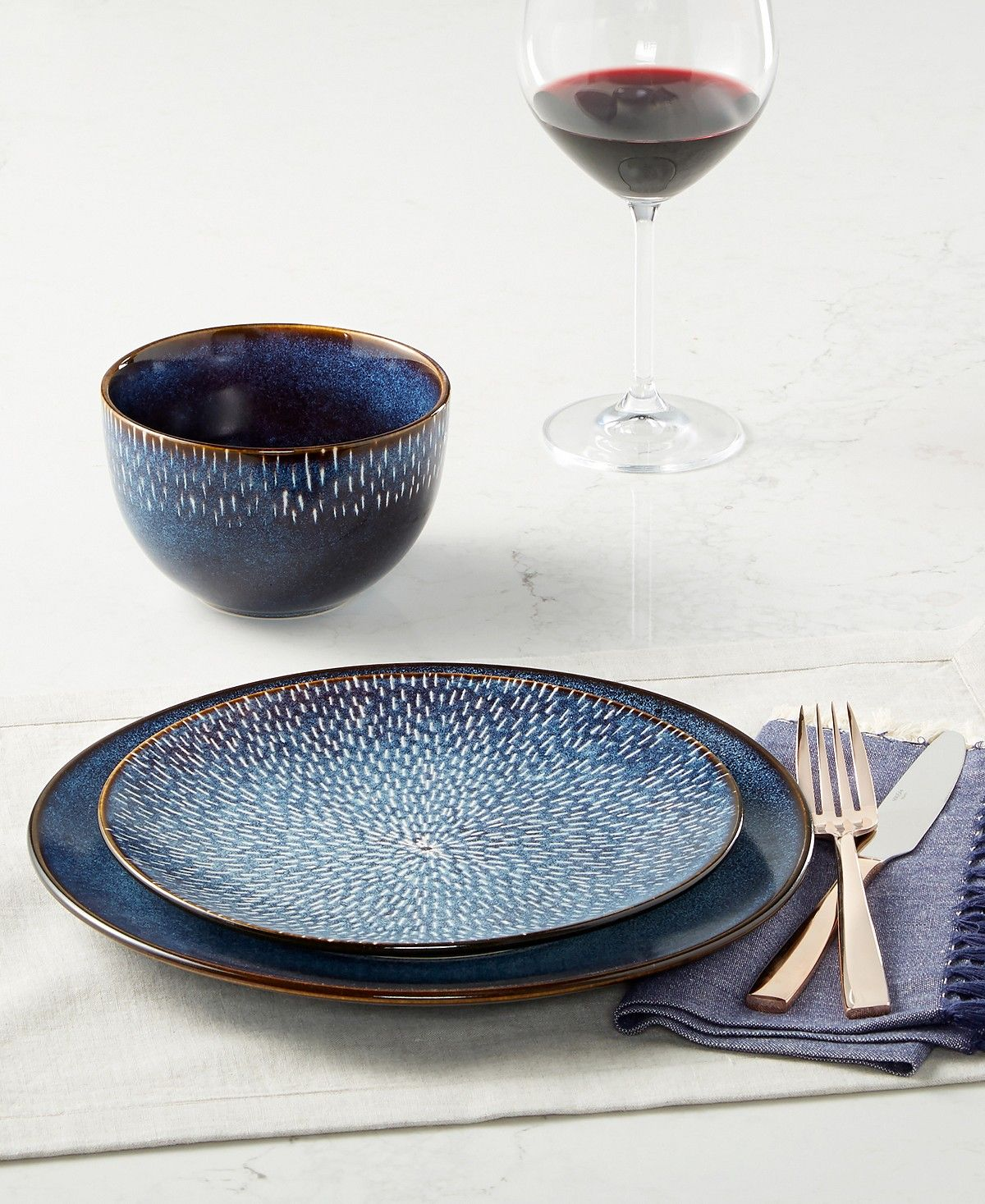 Laurie Gates Matisse Round Blue 16-Pc. Dinnerware Set | Modern ...