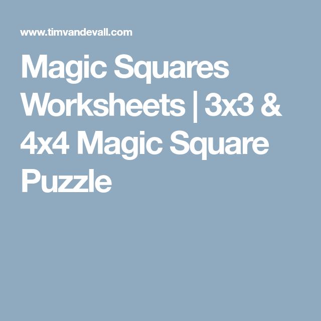 Magic Squares Worksheets 3x3 4x4 Magic Square Puzzle Brain