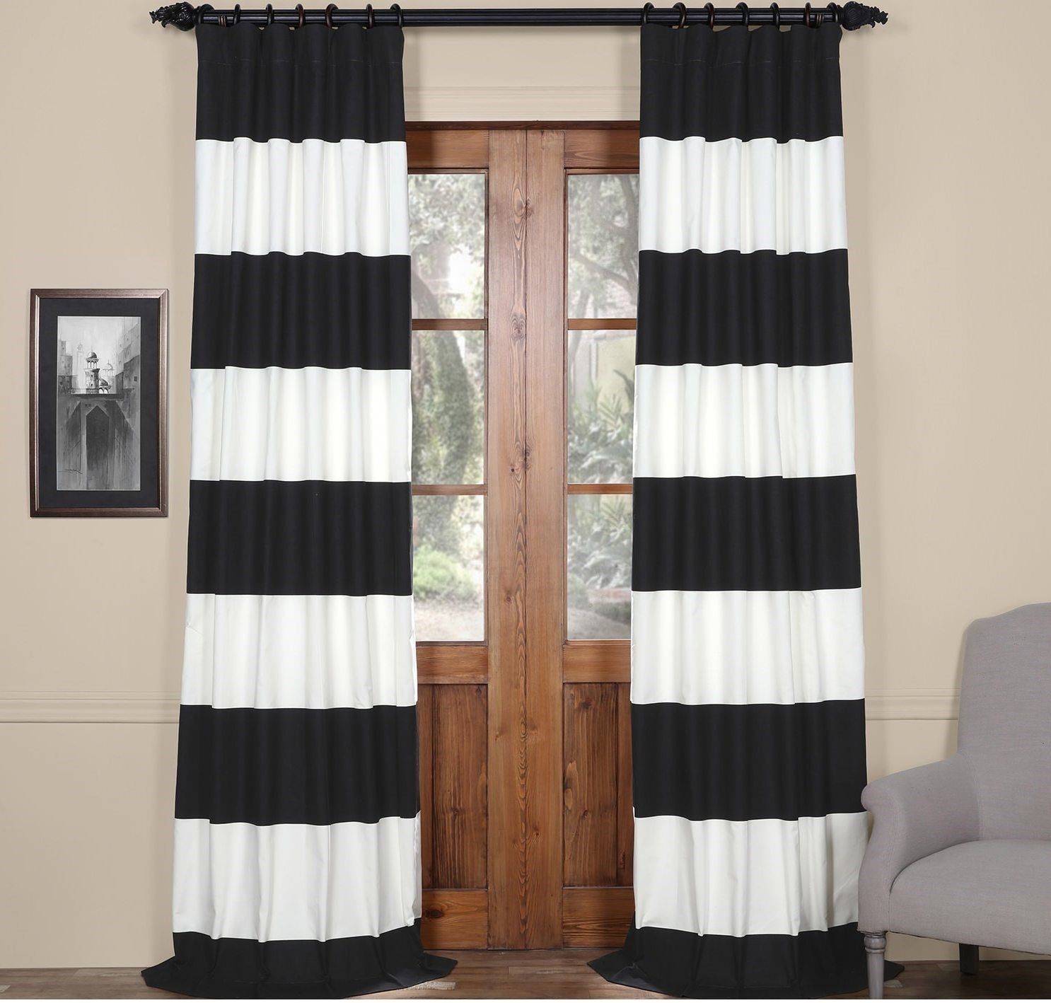 96 Inch Onyx Black Off White Rugby Stripes Curtain Single
