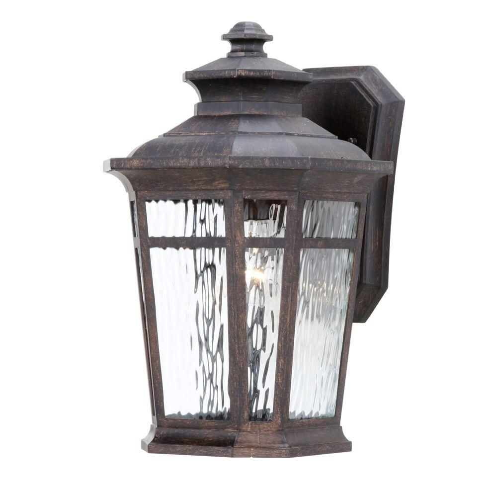 Hampton bay waterton light dark ridge bronze outdoor wallmount
