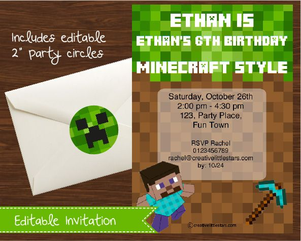 Print it yourself minecraft diy invitation announce your print it yourself minecraft diy invitation announce your minecraft party with this fun printable editable solutioingenieria Images