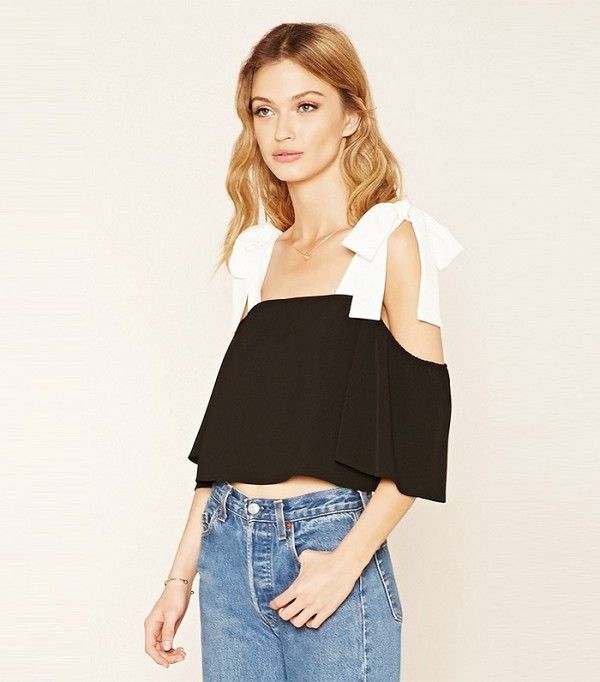 Forever 21 Contemporary Ribbon Accent Top