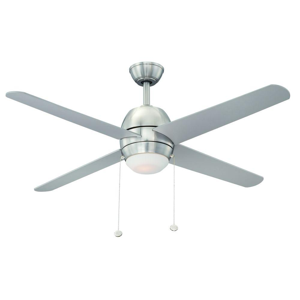 Hampton Bay Northport 52 In Indoor Brushed Nickel Ceiling Fan With Light Kit 14926 The Home Depot Ceiling Fan With Light Ceiling Fan Brushed Nickel Ceiling Fan