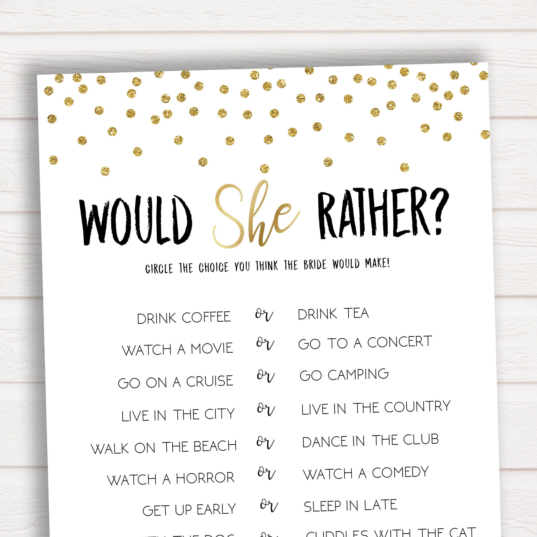 Would She Rather Bridal Shower Game Bridal Shower Game