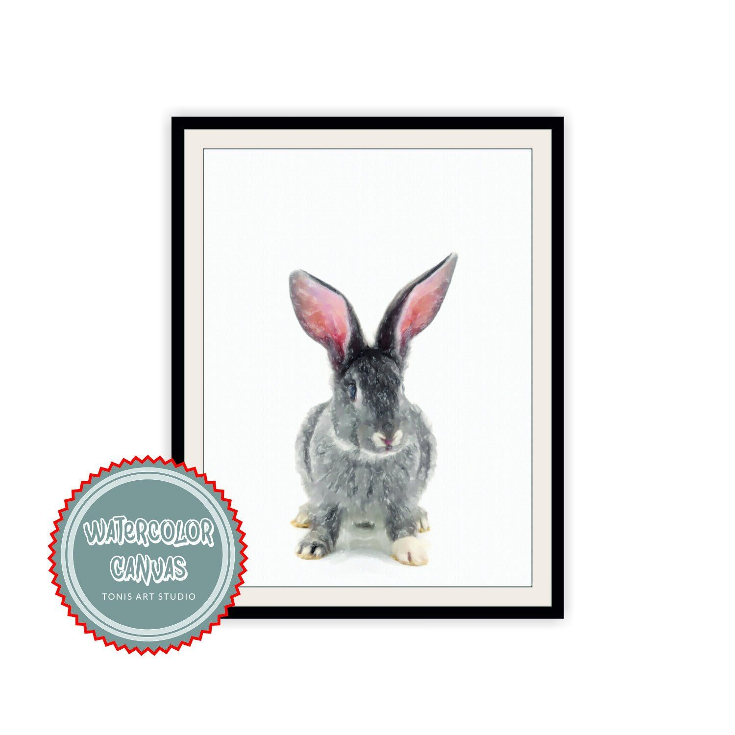Rabbit Watercolor Nursery Decor Printable Art Wall
