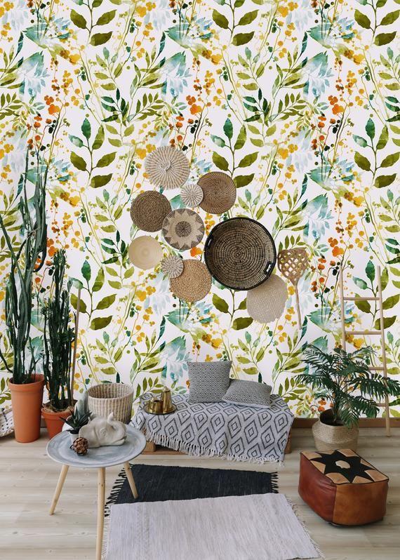 Hand Drawn Boho Spring Leaves Removable Wallpaper Peel And Etsy Wall Wallpaper Boho Wallpaper Removable Wallpaper